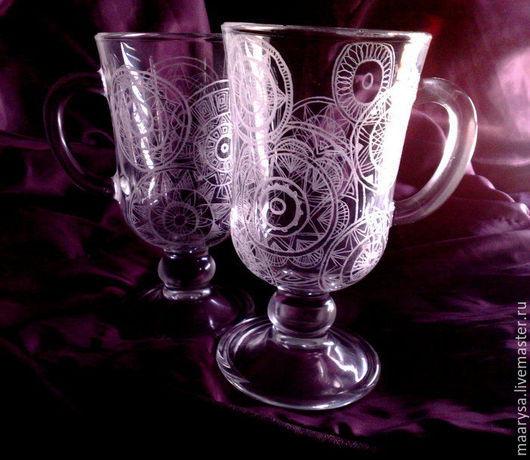 бокалы для глинтвейна с авторской росписью - ручной гравировкой