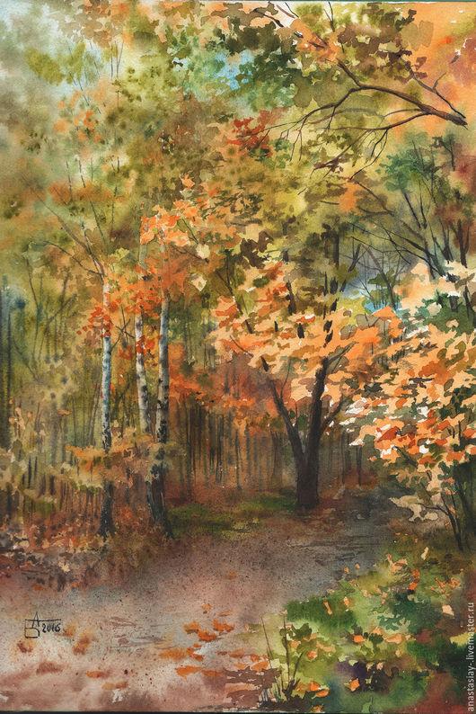 Пейзаж ручной работы. Ярмарка Мастеров - ручная работа. Купить Осень.. Handmade. Рыжий, осенние краски, осенний пейзаж