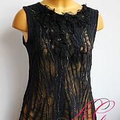 Одежда ручной работы. Ярмарка Мастеров - ручная работа Валяная  блуза-топ Таинство ночи. Handmade.