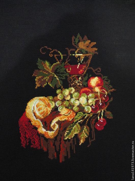 """Натюрморт ручной работы. Ярмарка Мастеров - ручная работа. Купить """"Натюрморт с апельсином"""". Handmade. Вышивка крестом, ручная работа"""