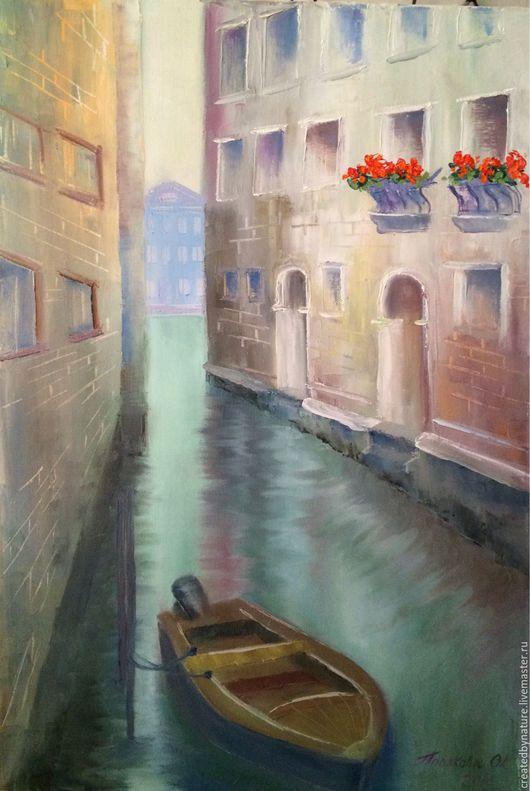 """Город ручной работы. Ярмарка Мастеров - ручная работа. Купить Картина """"Улочки Венеции"""". Handmade. Картина в подарок, лодка, стены"""