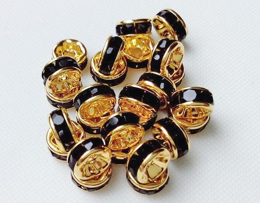 Рондели под золото с черными стразами, 6 мм и 4 мм.