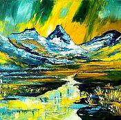 """Картины ручной работы. Ярмарка Мастеров - ручная работа Картина маслом """"Весна и горы"""". Handmade."""