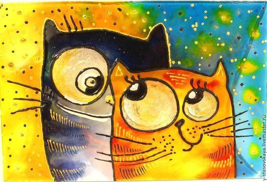 Животные ручной работы. Ярмарка Мастеров - ручная работа. Купить Картина на стекле Счастливы вместе. Handmade. Желтый, картина, Витраж