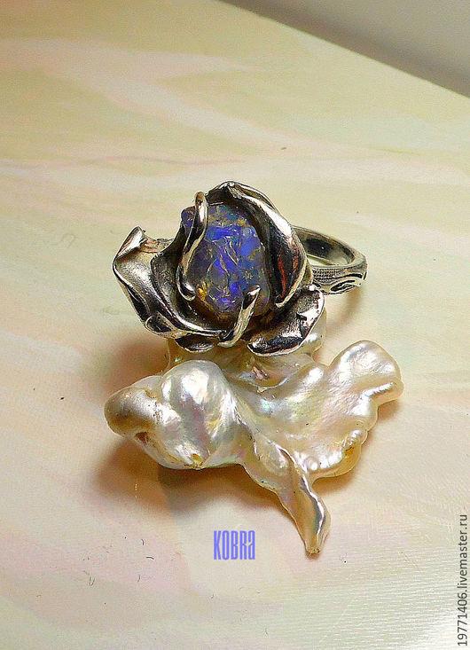 Кольца ручной работы. Ярмарка Мастеров - ручная работа. Купить кольцо с опалом РОЗОЧКА. Handmade. Комбинированный, натуральный опал