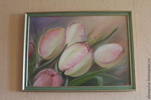 Картины цветов ручной работы. Ярмарка Мастеров - ручная работа. Купить Тюльпаны маслом на холсте. Handmade. Тюльпаны, цветы маслом