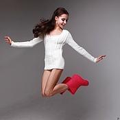 Одежда ручной работы. Ярмарка Мастеров - ручная работа Пуловер вязаный женский ручной работы из мериноса Снежинка. Handmade.