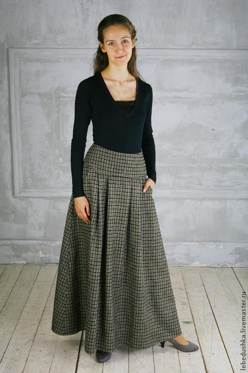 Юбки ручной работы. Ярмарка Мастеров - ручная работа. Купить Теплая юбка Амазонка. Handmade. В клеточку, юбка для зимы