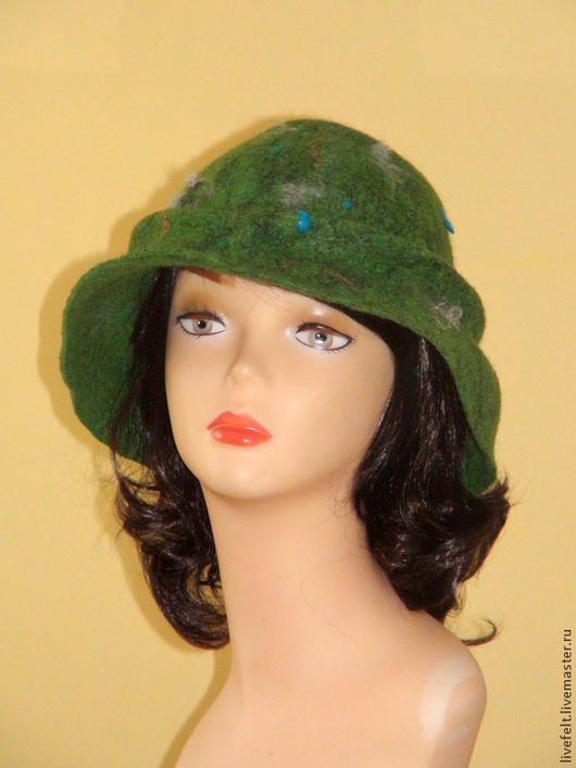Шляпы ручной работы. Ярмарка Мастеров - ручная работа. Купить Шляпа шерстяная валяная  зелёная c полями. Handmade. Абстрактный