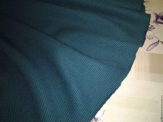 """Шитье ручной работы. Ярмарка Мастеров - ручная работа. Купить Шерсть костюмно-пальтовая """"Морская волна"""" в рубчик. Handmade."""
