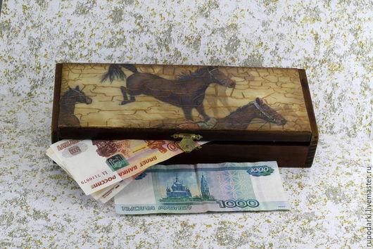 Персональные подарки ручной работы. Ярмарка Мастеров - ручная работа. Купить Купюрница деревянная  Лошади. Handmade. Декупаж работы, лошади