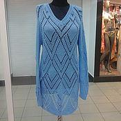 Одежда ручной работы. Ярмарка Мастеров - ручная работа пуловер туника ажурная синего цвета. Handmade.