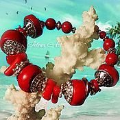 """Украшения ручной работы. Ярмарка Мастеров - ручная работа Браслет """" Счастливого плавания"""" из натурального коралла. Handmade."""