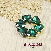 Материалы для творчества handmade. Livemaster - original item Glass rhinestones Heart 10mm Emerald. Handmade.