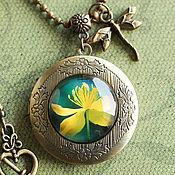 Украшения ручной работы. Ярмарка Мастеров - ручная работа медальон - желтый цветок. Handmade.