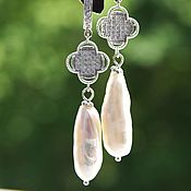 Украшения handmade. Livemaster - original item Earrings and pendant with large genuine Baroque pearls with cubic Zirconia. Handmade.