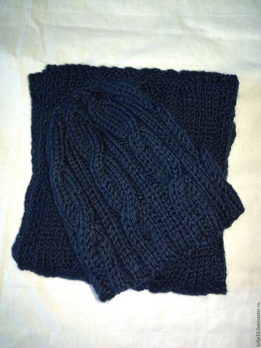 Шапки ручной работы. Ярмарка Мастеров - ручная работа. Купить Комплект на заказ шапка и шарф.. Handmade. Тёмно-синий