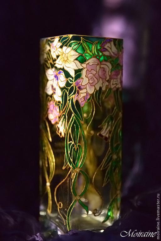 Ваза для цветов `Винтажная`. Витражная роспись
