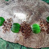 Украшения ручной работы. Ярмарка Мастеров - ручная работа медный браслет с зелеными камнями. Handmade.