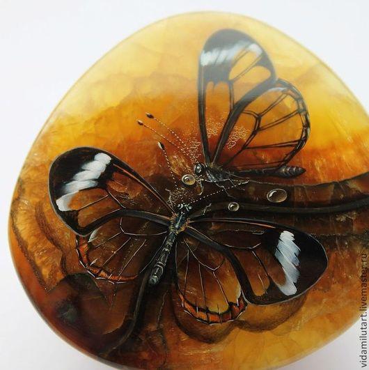 Роспись по камню ручной работы. Ярмарка Мастеров - ручная работа. Купить Медовые бабочки на симбирците. Handmade. Оранжевый, мед, красота