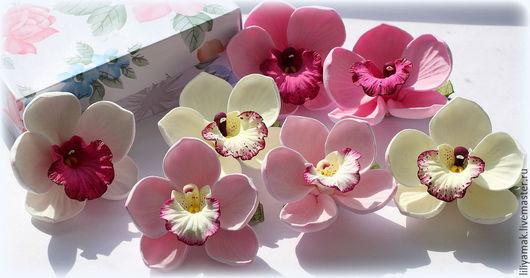 Заколки ручной работы. Ярмарка Мастеров - ручная работа. Купить Орхидеи на зажиме. Handmade. Розовый, подарок, нежное украшение