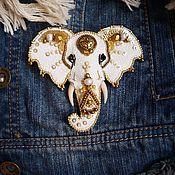 """Украшения ручной работы. Ярмарка Мастеров - ручная работа Брошь """"Слон"""" из кожи. Handmade."""