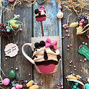 Посуда ручной работы. Ярмарка Мастеров - ручная работа Вкусная кружка Арт 12.113 Капкейк Набор Кружка + Ложка. Handmade.