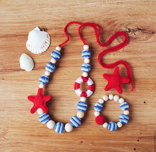Детская бижутерия ручной работы. Ярмарка Мастеров - ручная работа. Купить Комплект украшений для девочки в морском стиле. Handmade. Слингобусы