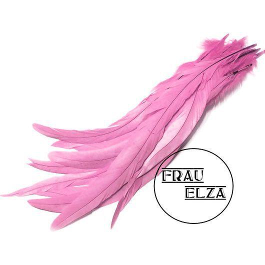 Другие виды рукоделия ручной работы. Ярмарка Мастеров - ручная работа. Купить Перья петуха 30-35 см. Розовый. Handmade.