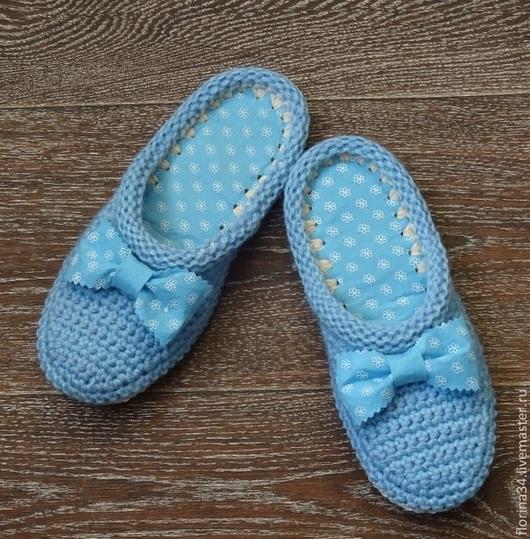 Обувь ручной работы. Ярмарка Мастеров - ручная работа. Купить Тапочки-шлепки Китти в голубом. Handmade. Тапочки, нежно-голубой