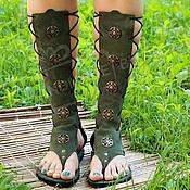 Обувь ручной работы manualidades. Livemaster - hecho a mano Sandalias de Gladiadores de color Caqui de cuero y gamuza. Handmade.