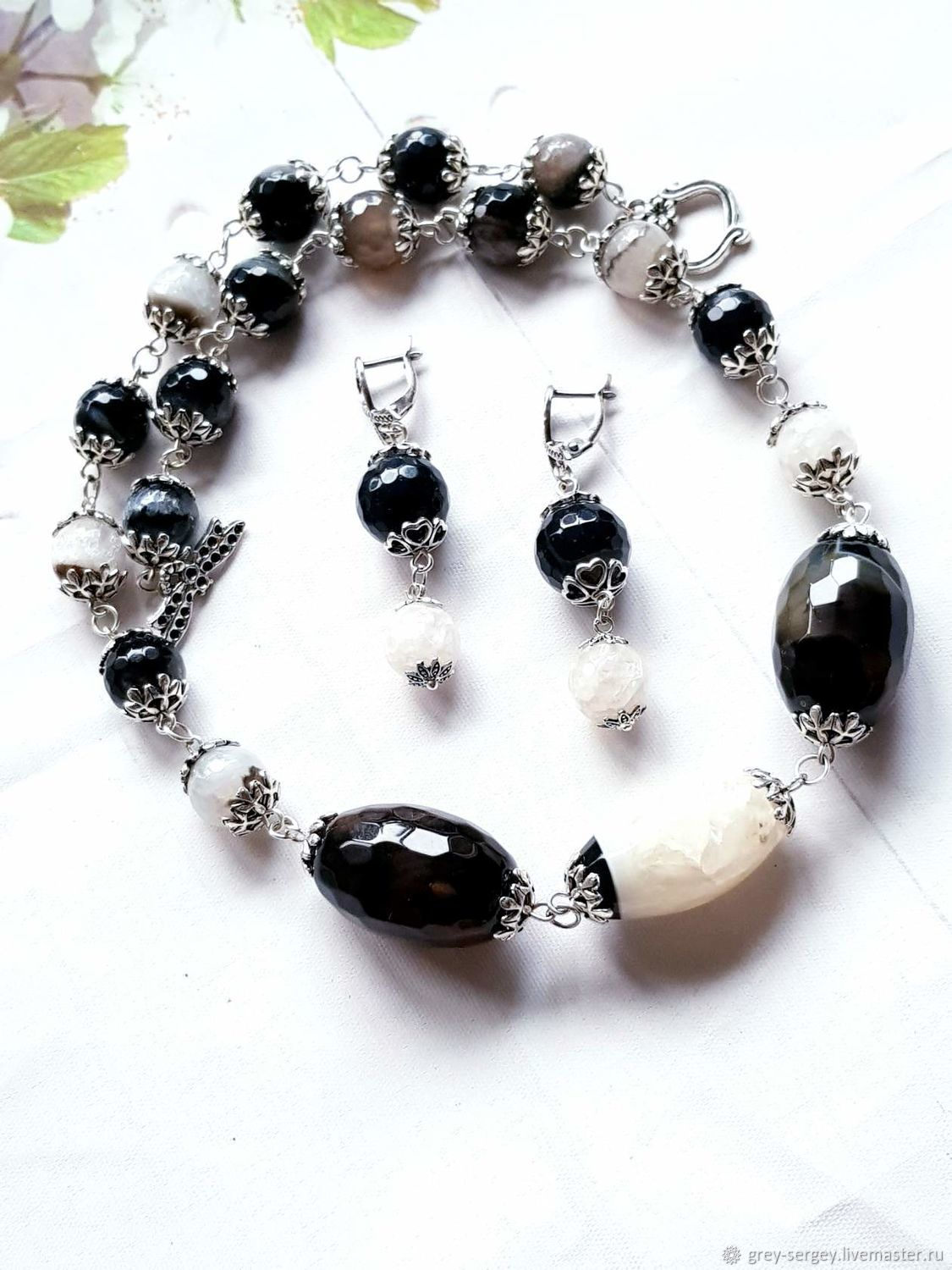 Jewelry set with Yin - Yang agate, Jewelry Sets, ,  Фото №1