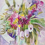 Картины ручной работы. Ярмарка Мастеров - ручная работа Картина акрилом Ваза с белыми тюльпанами. Handmade.