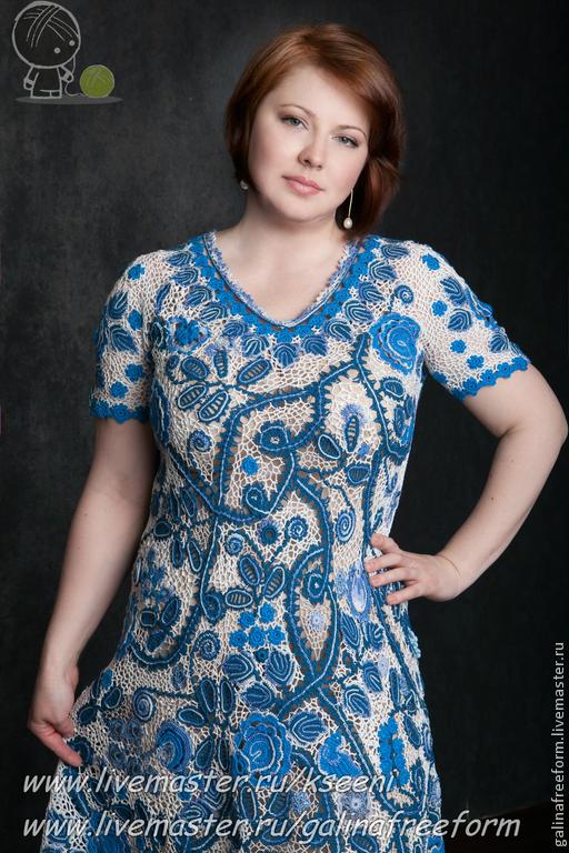 """Платья ручной работы. Ярмарка Мастеров - ручная работа. Купить Платье """"Гжель"""". Handmade. Тёмно-синий, авторское платье, цветок"""