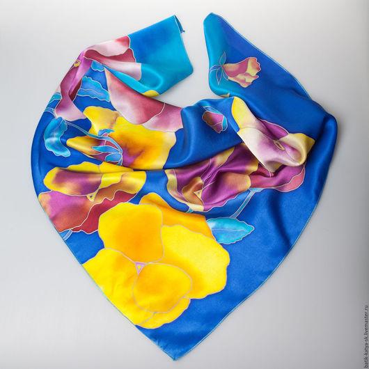 """Шали, палантины ручной работы. Ярмарка Мастеров - ручная работа. Купить Батик платок """"Весенние цветы"""". Handmade. Синий, фиалки"""