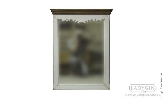 Зеркала ручной работы. Ярмарка Мастеров - ручная работа. Купить Деревянное узкое зеркало с карнизом а стиле прованс. Handmade.