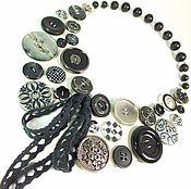 Украшения handmade. Livemaster - original item Button Collar. black and white. Necklace. Handmade.