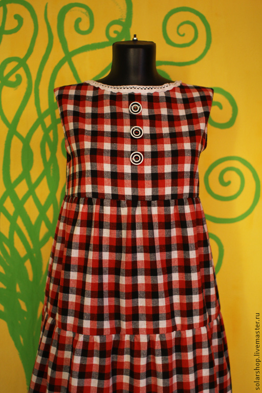 Платья ручной работы. Ярмарка Мастеров - ручная работа. Купить Платье в клеточку Лён 100%. Handmade. Разноцветный, платье в клетку