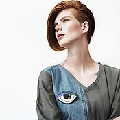 Одежда ручной работы. Ярмарка Мастеров - ручная работа Платье из купры и джинсы с вышивкой. Handmade.