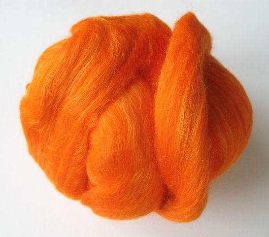 Валяние ручной работы. Ярмарка Мастеров - ручная работа. Купить Смесь Шерсть 70% + Шелк Тусса 30% - Оранжевый. Handmade.