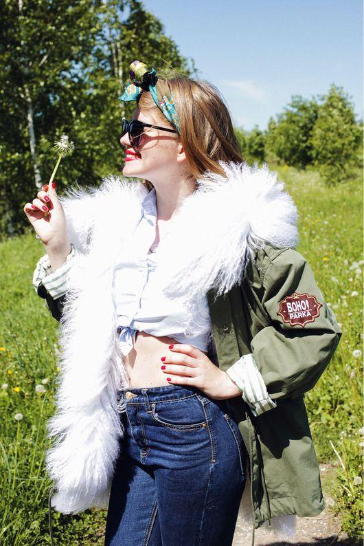Верхняя одежда ручной работы. Ярмарка Мастеров - ручная работа. Купить Куртка классика короткая на белом меху ламы.. Handmade.