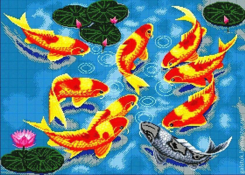 Схема вышивки 9 рыбок