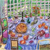 """Картины ручной работы. Ярмарка Мастеров - ручная работа Акварель """"У нас все дома. Повседневные радости"""". Handmade."""
