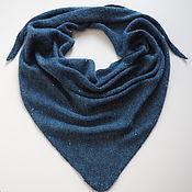 Аксессуары handmade. Livemaster - original item Kerchief with kid mohair sequins dark blue knitted kerchief. Handmade.