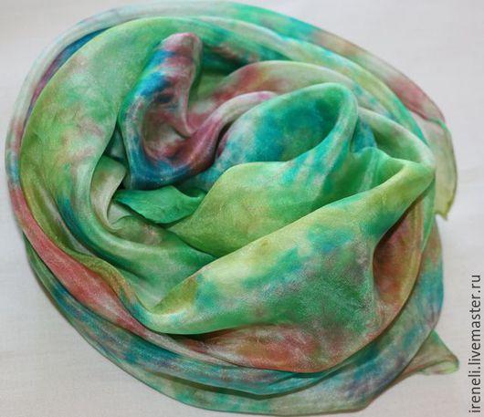 """Шали, палантины ручной работы. Ярмарка Мастеров - ручная работа. Купить Батик платок """"Полевые цветы"""". Handmade. Комбинированный, голубой"""