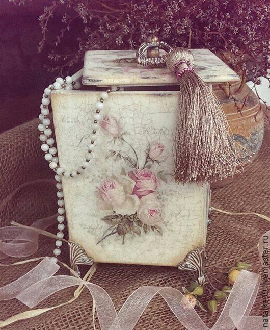 """Шкатулки ручной работы. Ярмарка Мастеров - ручная работа. Купить Короб - шкатулка  """" Розы"""". Handmade. Белый, женщине, бисер"""