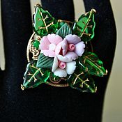 Украшения handmade. Livemaster - original item Ring with flowers from polymer clay Delicate bouquet. Handmade.