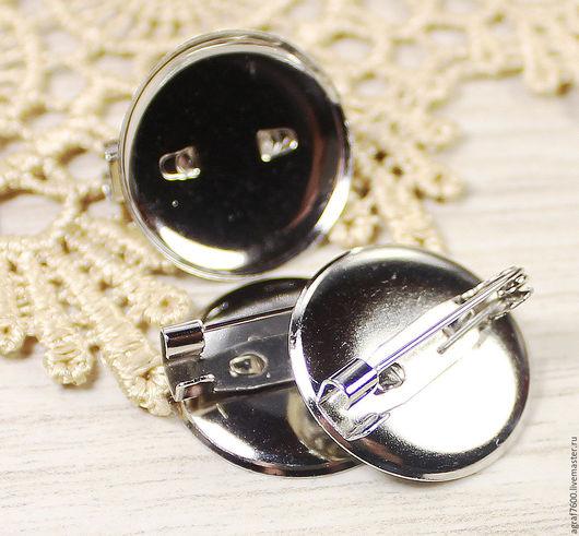 Для украшений ручной работы. Ярмарка Мастеров - ручная работа. Купить Основа для броши 20 мм цвет серебро. Handmade.