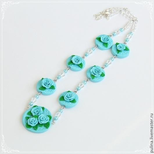 Колье `Изысканность`, голубые розы