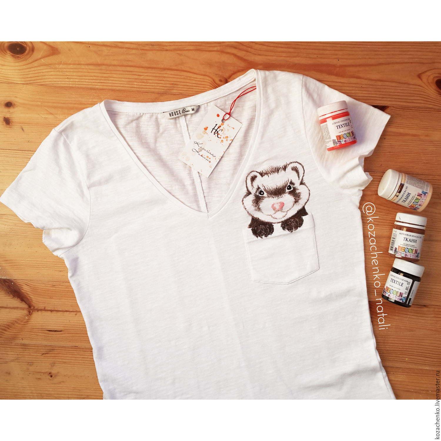 T-shirt with hand-painted 'Ferret in the pocket', T-shirts, Kaliningrad,  Фото №1